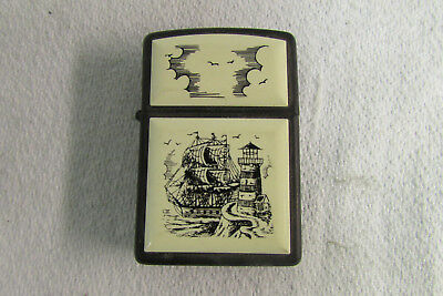 Scrimshaw Ship and Lighthouse Design Zippo Lighter Black 1994