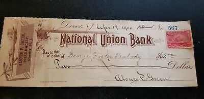 Old 1900 Union National check (Chester, NJ)