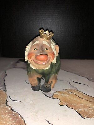 Vintage Henning Birch Hand Carved By Anton Sween Troll King Gnome With Crown