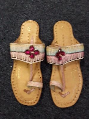 c347ef6a5 Ladies Savannah Collection Toe Post Sandals in Pink with Embelishments - UK  7