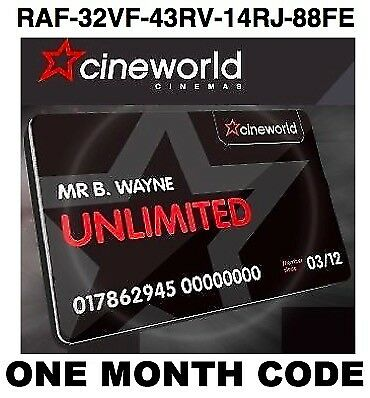 Cineworld Unlimited Card 1 MONTH Promo CODE & £8 Cshbk RAF-32VF-43RV-14RJ-88FE