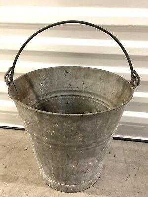 Vintage French Galvanized Zinc Pail Bucket~Water Bucket With Handle