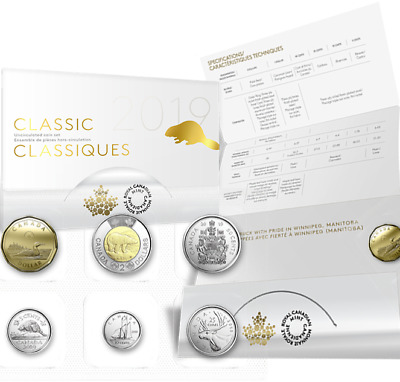 2019 6-Coins Classic Canada Uncirculated Set: $2 $1, 50cent 25cent 10cent 5cent