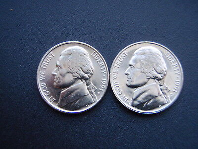 2 ~1991 P&D JEFFERSON NICKELS >GEOURGEOUS UNCIRCULATED choice>WITH STEPS