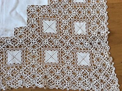Vintage White cotton handmade lace linen tablecloth 1m square Wedding cake table