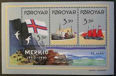 50th anniversary of official recognition of Faroese flag stamp sheet, 1990, MNH