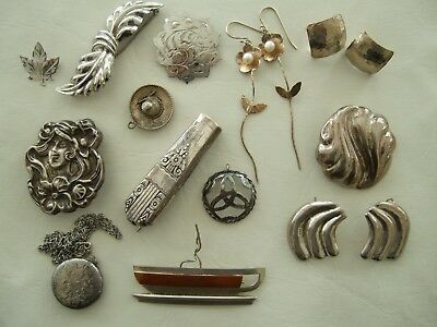 Vintage Sterling silver jewelry lot of 13 pieces