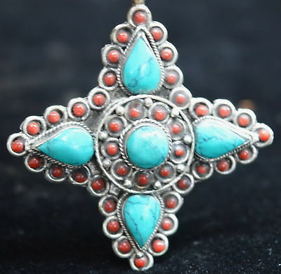 Collectable Chinese Ancient Miao Silver Turquoise Carve Cross Lucky Old Pendant