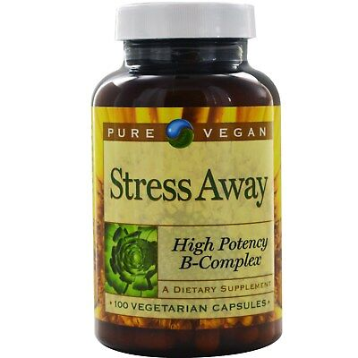Pure Vegan Stress Away High Potency B-Complex 100 Caps FAST FREE SHIPPING