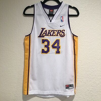 Shaquille O Neal Los Angeles Lakers Nike Swingman Youth XL Size NBA Jersey  White e065a6f6c