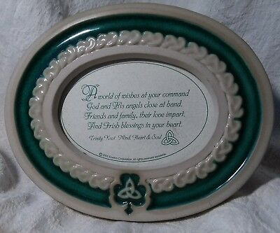 IRISH BLESSING Ceramic PLAQUE Photo Frame ENESCO TRINITY KNOT Green Table Top