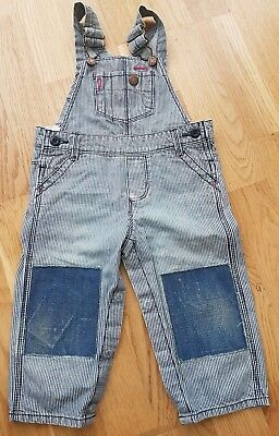 Osh Kosh designer 12 months dungarees blue white striped vintage patches