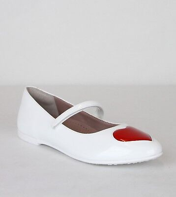 4a531712d Gucci Girl Children's White Patent Leather Ballet Flat w/Red Heart 455402  9087