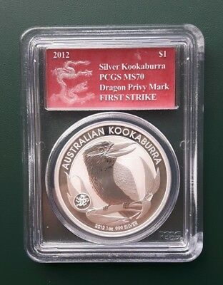 2012 Australia Kookaburra 1 oz 999 Silver coin PCGS MS 70 Dragon Privy F Strike