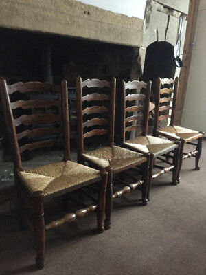 A Set of 4 Antique 18th Century Turned Ash Dining Chairs / Backstools