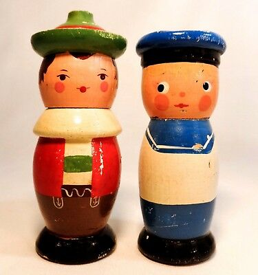 Franconia Notch, Nh Vint Pair Hand Painted Wooden Figural Toothpick Holders