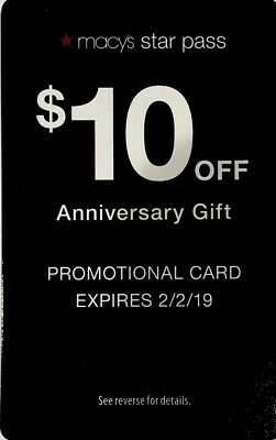 Macys Promotional Card $10 Off No Restrictions