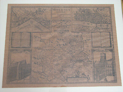 Antique Facsimile 17th-century John Speed Middlesex map Westminster & London