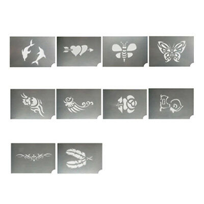 10pcs Reusable Animal Body Face Art Painting Stencil Tattoo Make up Template