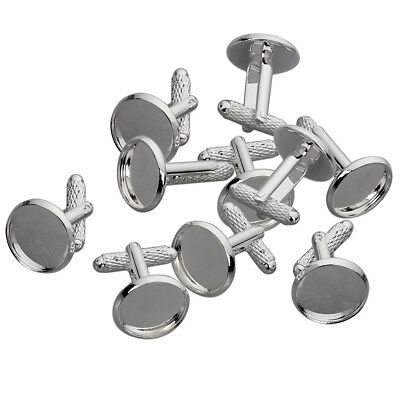 10x Alloy Cuff Links Settings Tray Fit 12mm Cabochons Charm Jewelry Findings