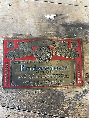 VTG BUDWEISER BELT BUCKLE 70s 80s Beer Advertising Cowboy Biker Enamel Brass