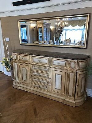 Sideboard Buffet Table With Matching Mirror By Ferguson Copeland, Like New.