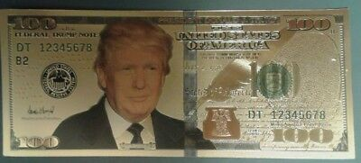 O) 2018 United States, Bank Note Gold Plated Fun Gift Donald J. Trump $100-Presi