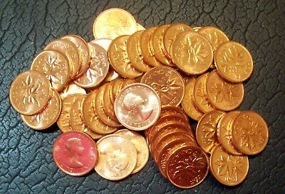 1964 Canada Canadian One Cent Uncirculated Roll Of 50--Over 80 Rolls Available