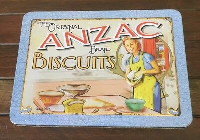 "The Original Anzac Brand Biscuits Tin ""Women at Home"" Very Good Condition"
