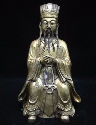 """Rare Old Chinese Bronze Figure Of Official Buddha Man Statue Marked """"YongLe"""""""