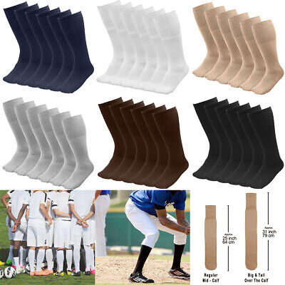 "6/18 Pairs Men's Athletic Sports Tube Socks Over the Calf 25"" or 31"" Big & Tall"