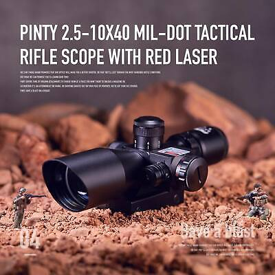 New 2.5-10x40EG Tactical Rifle Scope Mil-dot Dual illuminated Red Laser w/ Mount
