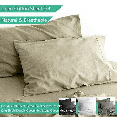 Natural Linen Cotton Sheet Sets Breathable Pillow Cases Queen King Bed Sheets
