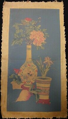 """Large Old Chinese Paper Painting Flowers """"XuYang"""" and """"LangShiNing"""""""