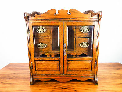 Antique Wooden Cigar Humidor Hanging Wood Smoking Cabinet English Oak