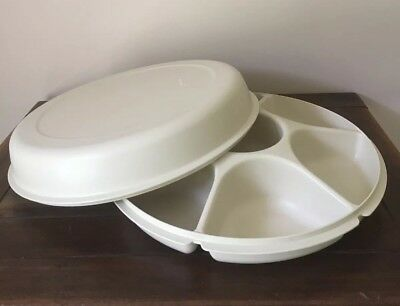 Vintage Tupperware serving centre/tray with cover, large, cream colour, VGC