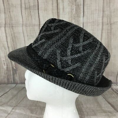 1e3a1646a15 D Y David Young Women s Gray Cable Knit Fedora Hat Braided Strap Detail One  Size