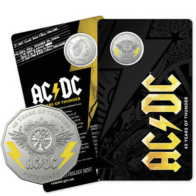 2018 AC/DC 50c Coin-45 Years of Thunder-Shipped Today-Free Priority Paid Postage