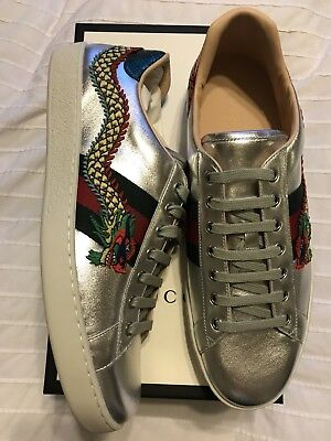 e7b9f8fe350 New Auth Gucci Ace Dragon 🐉 Leather Low Fashion sneakers Shoe Silver 12 13   830