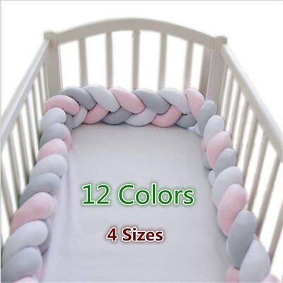 1M-4M Baby Infant Plush Crib Pillow Pad Protector Bumper Bed Bedding Cot Braid