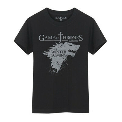 Game of Thrones House Stark Winter Is Coming Black T-Shirts Black Men Cotton Tee
