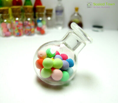 Dollhouse Miniature Sweet Glass Candy Jar Bottle Lid Food Grocery Accessory 1:12