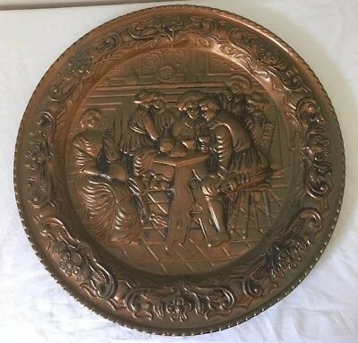 Vintage Copper wall hanging / plate 42cm Made In England Very Good Conditin
