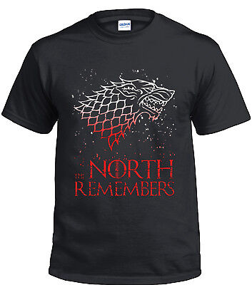 Game of Thrones Stark The North Remember Black T-Shirts Black Men Cotton Tee
