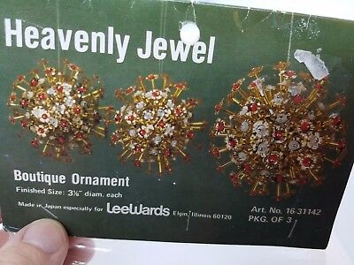 Vintage LeeWards HEAVENLY JEWEL  Boutique Christmas Ornament Craft Kit Sequin