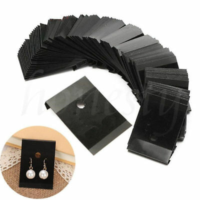 100Pcs Jewelry Earring Ear Studs Hanging Display Holder Hang Cards Black 5*4.5cm
