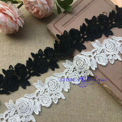 FP46 1 Yard Lace Trim Ribbon For Wedding Bridal Dress Embroidered Sewing Crafts