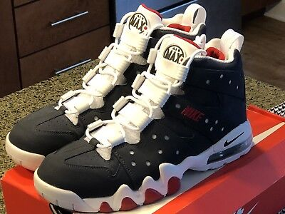 Vintage NIKE AIR MAX 2 CB 94 WHITE 2003 RED CHARLES BARKLEY BASKETBALL SIZE 10!