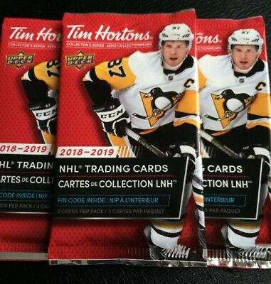 2018-19 Upper Deck Tim Hortons 3 Sealed Hockey Card Packs
