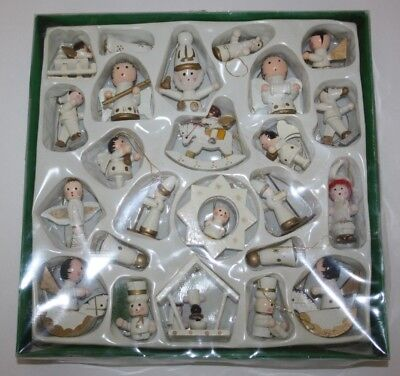 Vintage Christmas Angels Santa Carved Wood Miniatures White Set of 24 NIB